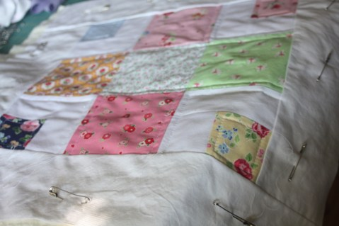 quilted sham from quilt block  in progress