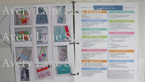 Qick Reference Projects supply lists sewing program for kids resized