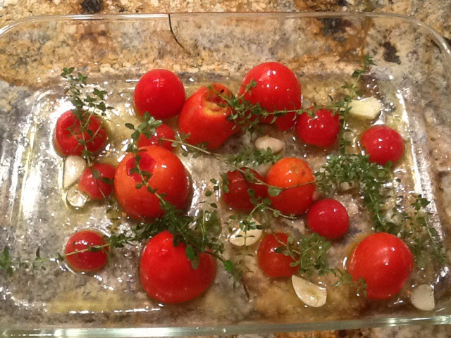 Now for the tomatoes before they go bad–Using more CSA produce.