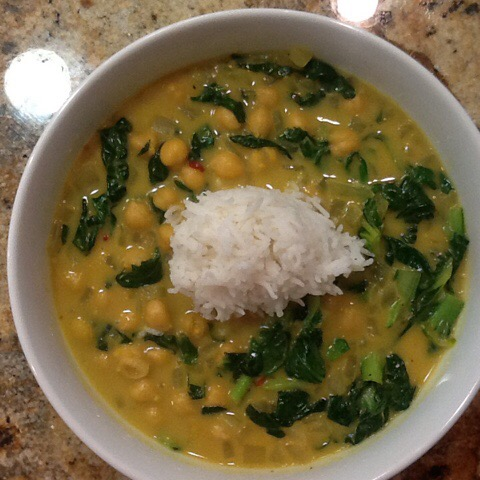 Coconut Chickpea Curry Soup with Tat Soi