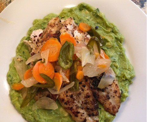 Pan Fried Fish with Avocado and Jalapeño Escabache