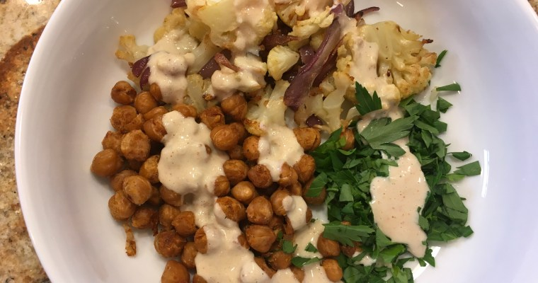 Roasted Cauliflower Salad with Spiced Chickpeas from Budget Bytes