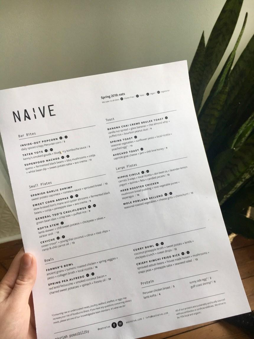 naive restaurant menu