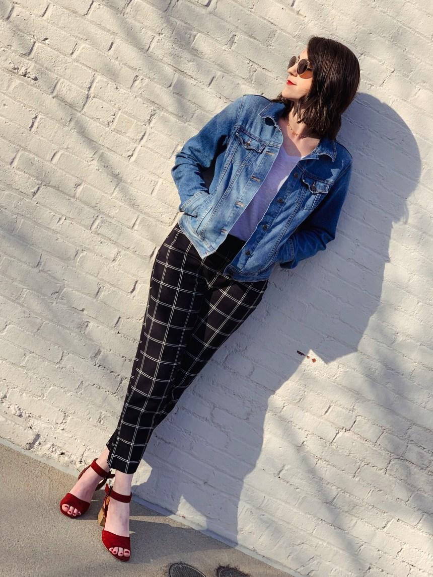 target black plaid pants