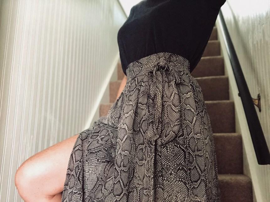 snakeskin print midi skirt