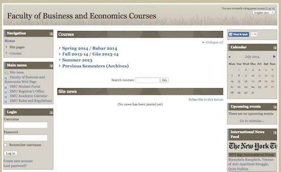 Startpagina met lijst met cursussen