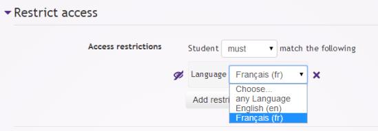 Moodle user restriction language