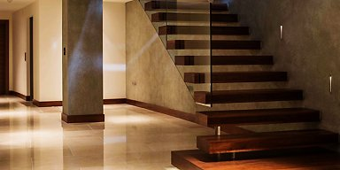 straight wooden stairs