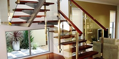 U shaped wooden stairs