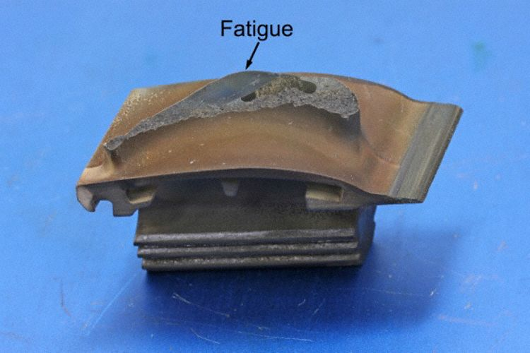 The fatigue fracture of blade 24 (Photo: ATSB)