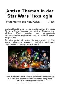 Plakat fuer die AvH Projektwoche Thema Antike Themen in der Star Wars Hexalogie