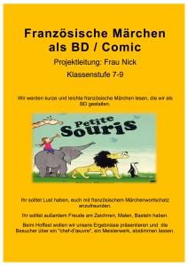 Plakat fuer die AvH Projektwoche Thema Franzoesische Maerchen als BD