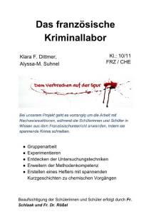 Plakat fuer die AvH Projektwoche Thema Französisches Kriminallabor