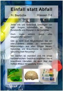 Plakat fuer die AvH Projektwoche Thema Einfall statt Abfall