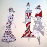 Figurinen in schwarz-weiß-rot