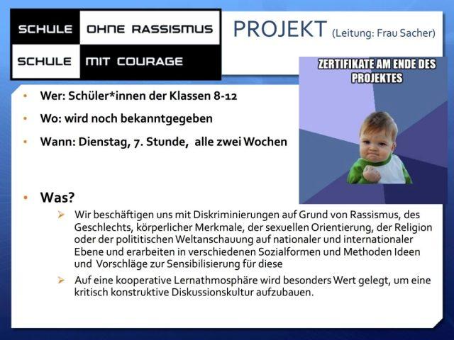 Werbeplakat Schule mit Courage