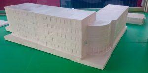 Vorderansicht des 3D-Modells unserer Schule.