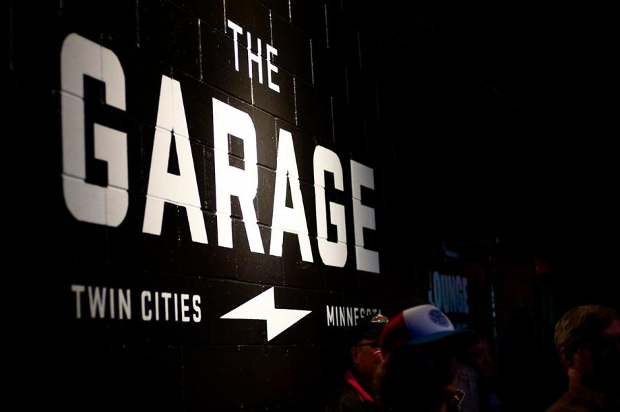 The+Garage%27s+logo+on+a+wall+near+the+stage.
