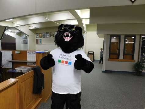 Cedar Park's panther greets incoming families and students with a paw-sitive attitude.