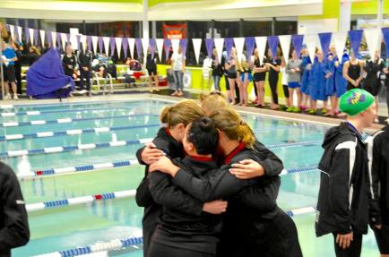 At sections, the relay team celebrates their advance to state