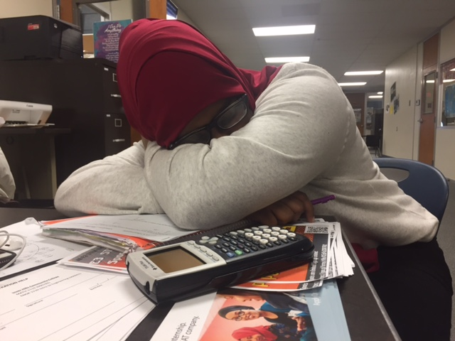 Student+falls+asleep+while+working+on+school+work