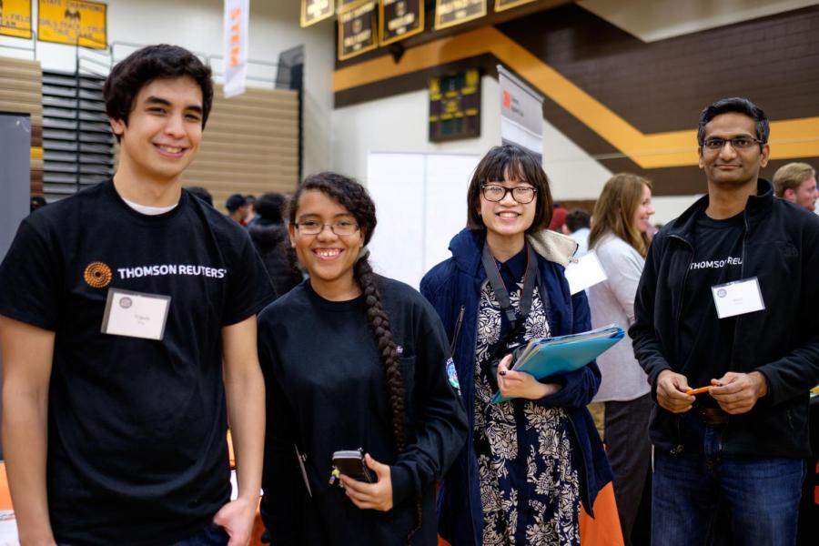 AVHS+students+meet+with+a+digital+marketer+from+Thomson+Reuters.