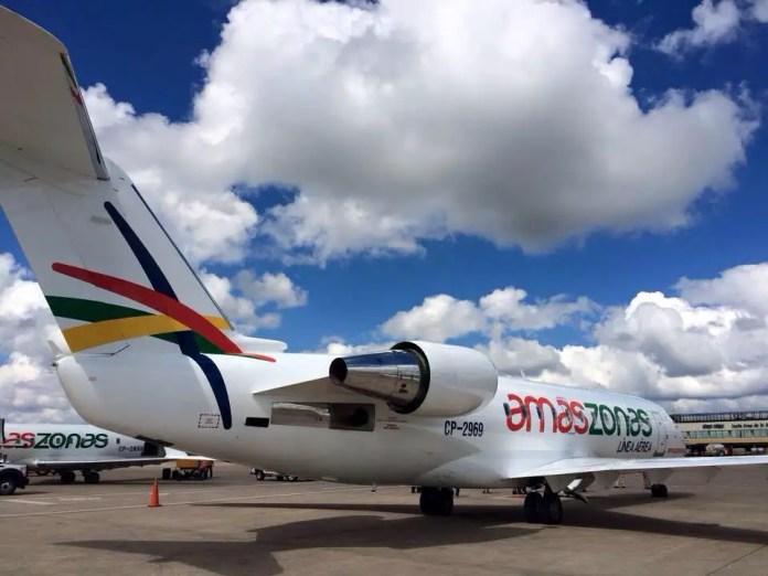 El nuevo CRJ-200 CP-2969 de Amaszonas (Foto: https://twitter.com/AsuntosPendient/)
