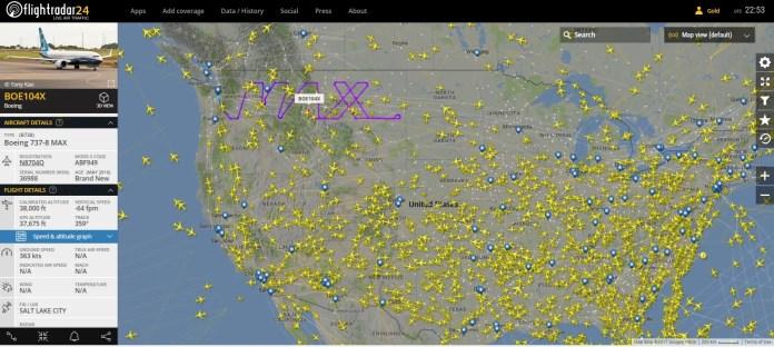 Boeing 737 MAX 8 flightradar 2