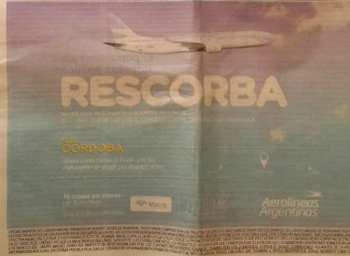 Aerolíneas Argentinas - Publicidad Resistencia - Bariloche