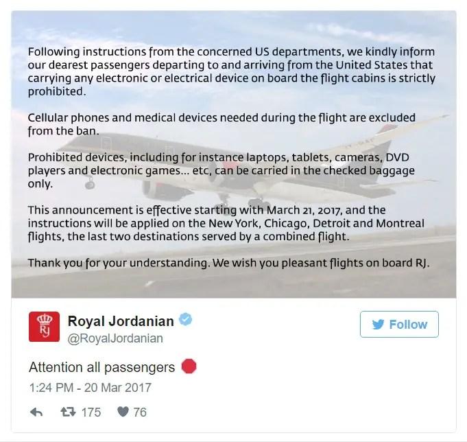 Royal Jordanian - Tweet 20MAR2017