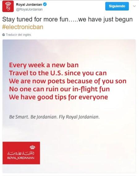 Royal Jordanian Tweet poema