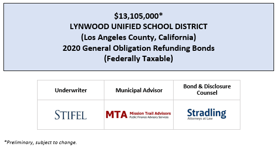 $13,105,000* LYNWOOD UNIFIED SCHOOL DISTRICT (Los Angeles County, California) 2020 General Obligation Refunding Bonds (Federally Taxable) POS POSTED 2-27-20