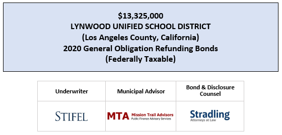 $13,325,000 LYNWOOD UNIFIED SCHOOL DISTRICT (Los Angeles County, California) 2020 General Obligation Refunding Bonds (Federally Taxable) FOS POSTED 3-10-20