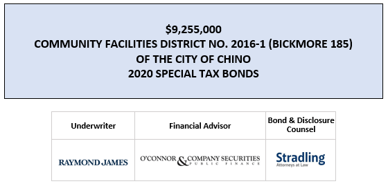 SUPPLEMENT DATED MARCH 17, 2020 TO OFFICIAL STATEMENT DATED MARCH 4, 2020 | $9,255,000 COMMUNITY FACILITIES DISTRICT NO. 2016-1 (BICKMORE 185) OF THE CITY OF CHINO 2020 SPECIAL TAX BONDS FOS POSTED 3-11-20