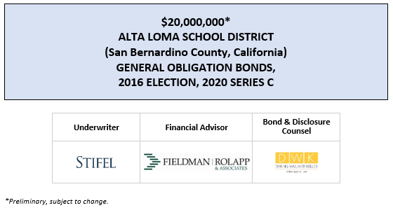 $20,000,000* ALTA LOMA SCHOOL DISTRICT (San Bernardino County, California) GENERAL OBLIGATION BONDS, 2016 ELECTION, 2020 SERIES C POS POSTED 3-5-20