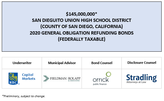 $145,000,000* SAN DIEGUITO UNION HIGH SCHOOL DISTRICT (COUNTY OF SAN DIEGO, CALIFORNIA) 2020 GENERAL OBLIGATION REFUNDING BONDS (FEDERALLY TAXABLE) POS POSTED 3-11-20