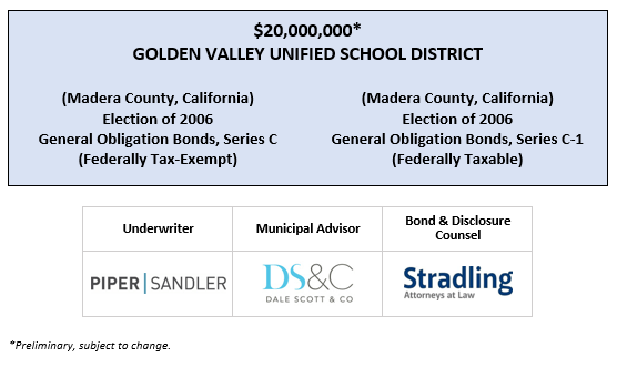 $20,000,000* GOLDEN VALLEY UNIFIED SCHOOL DISTRICT (Madera County, California) Election of 2006 General Obligation Bonds, Series C (Federally Tax-Exempt) (Madera County, California) Election of 2006 General Obligation Bonds, Series C-1 (Federally Taxable) POS POSTED 3-13-20