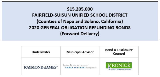 UPDATED OFFICIAL STATEMENT $15,205,000 FAIRFIELD-SUISUN UNIFIED SCHOOL DISTRICT (Counties of Napa and Solano, California) 2020 GENERAL OBLIGATION REFUNDING BONDS (Forward Delivery) POSTED 4-24-20