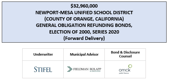 $32,960,000 NEWPORT-MESA UNIFIED SCHOOL DISTRICT (COUNTY OF ORANGE, CALIFORNIA) GENERAL OBLIGATION REFUNDING BONDS, ELECTION OF 2000, SERIES 2020 (Forward Delivery) UPDATED OS DATED 4-22-20