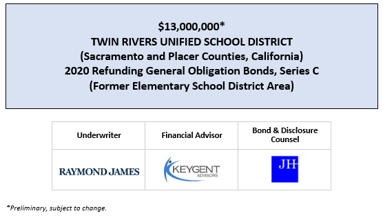 $13,000,000* TWIN RIVERS UNIFIED SCHOOL DISTRICT (Sacramento and Placer Counties, California) 2020 Refunding General Obligation Bonds, Series C (Former Elementary School District Area) POS POSTED 4-15-20