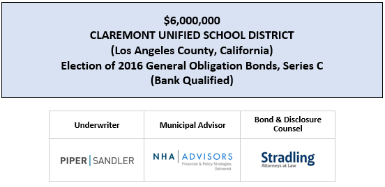 $6,000,000 CLAREMONT UNIFIED SCHOOL DISTRICT (Los Angeles County, California) Election of 2016 General Obligation Bonds, Series C (Bank Qualified) FOS POSTED 4-30-20
