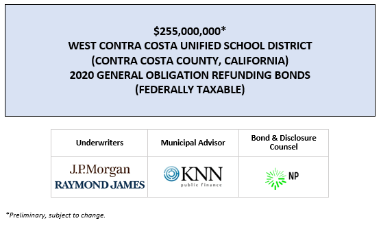 SUPPLEMENT DATED MAY 1, 2020 TO THE PRELIMINARY OFFICIAL STATEMENT DATED APRIL 3, 2020 RELATING TO THE WEST CONTRA COSTA UNIFIED SCHOOL DISTRICT (CONTRA COSTA COUNTY, CALIFORNIA) 2020 GENERAL OBLIGATION REFUNDING BONDS (FEDERALLY TAXABLE) POSTED 5-1-20