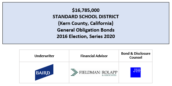 $16,785,000 STANDARD SCHOOL DISTRICT (Kern County, California) General Obligation Bonds 2016 Election, Series 2020 FOS PSOTED 6-23-20