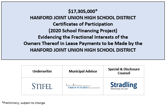 $17,305,000* HANFORD JOINT UNION HIGH SCHOOL DISTRICT Certificates of Participation (2020 School Financing Project) Evidencing the Fractional Interests of the Owners Thereof in Lease Payments to be Made by the HANFORD JOINT UNION HIGH SCHOOL DISTRICT POS POSTED 6-30-2020