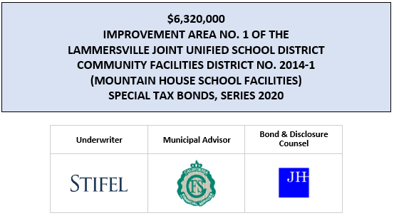 $6,320,000 IMPROVEMENT AREA NO. 1 OF THE LAMMERSVILLE JOINT UNIFIED SCHOOL DISTRICT COMMUNITY FACILITIES DISTRICT NO. 2014-1 (MOUNTAIN HOUSE SCHOOL FACILITIES) SPECIAL TAX BONDS, SERIES 2020 FOS POSTED 7-1-20