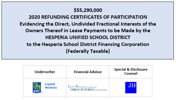 $55,290,000 2020 REFUNDING CERTIFICATES OF PARTICIPATION Evidencing the Direct, Undivided Fractional Interests of the Owners Thereof in Lease Payments to be Made by the HESPERIA UNIFIED SCHOOL DISTRICT to the Hesperia School District Financing Corporation (Federally Taxable) FOS POSTED 7-17-20