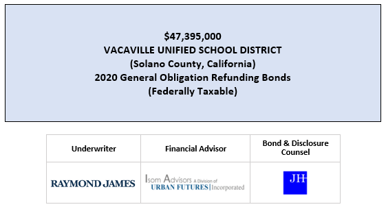 $47,395,000 VACAVILLE UNIFIED SCHOOL DISTRICT (Solano County, California) 2020 General Obligation Refunding Bonds (Federally Taxable) FOS POSTED 7-16-20