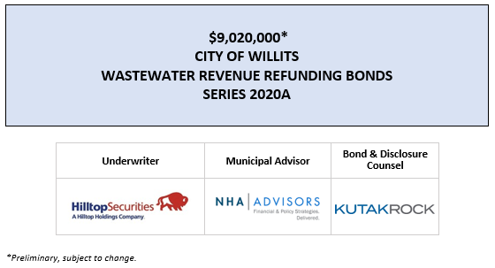 $9,020,000* CITY OF WILLITS WASTEWATER REVENUE REFUNDING BONDS SERIES 2020A POS POSTED 7-8-20