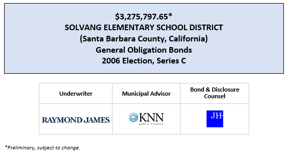 $3,275,797.65* SOLVANG ELEMENTARY SCHOOL DISTRICT (Santa Barbara County, California) General Obligation Bonds 2006 Election, Series C POS POSTED 7-9-20