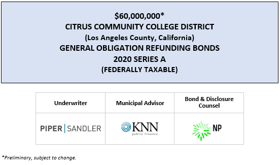 $60,000,000* CITRUS COMMUNITY COLLEGE DISTRICT (Los Angeles County, California) GENERAL OBLIGATION REFUNDING BONDS 2020 SERIES A (FEDERALLY TAXABLE) POS POSTED 7-10-20